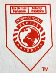 Postal Mark (sjrankin) Tags: red white edited tm usps airmail paravion postalmark 9february2011