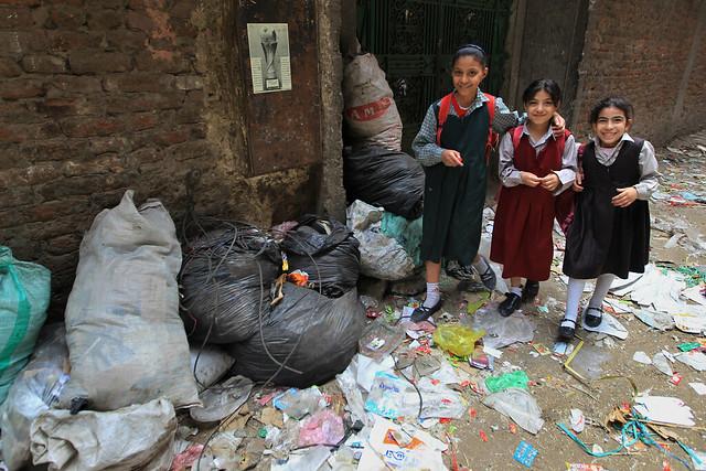 Schoolgirls Walk Cairo Slum