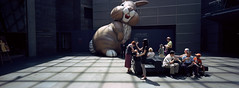 Unnerving (@fotodudenz) Tags: new light panorama rabbit bunny film giant gallery shadows kodak australia melbourne rangefinder victoria exhibition ceiling hasselblad zealand national inflatable 100 xpan ngv ektar 30mm 2011 unnerved top2011 believeinfilm