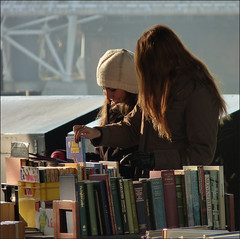 The book-stall on the Embankment (maggie224 -) Tags: girls london hat 77 embankment 137 bookstall matchpointwinner