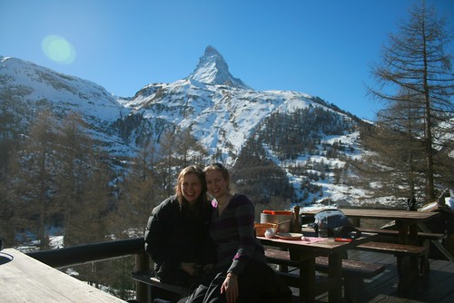Sisters Dining by the Matterhorn