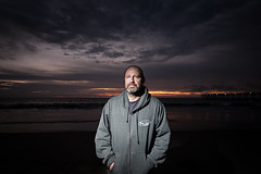 Neil Mug 1 (cory660) Tags: california ca sunset portrait sky beach clouds pier nikon flash d70s sb600 neil wideangle mug hermosabeach strobe strobist neilarmstrong2