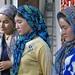 Three Uyghur girls at silk factory in Hotan, Xinjiang