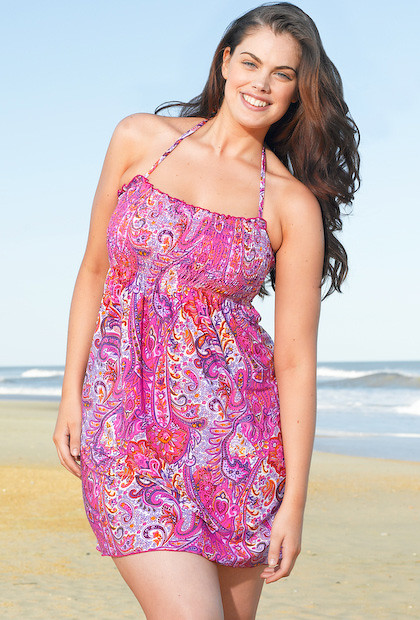 bfbb25bb164 Refined Coverage Pink Paisley Plus Size Smock Dress by Beach Belle®  (swimsuitsforall) Tags