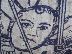 Closeup of a picture on a battle drum