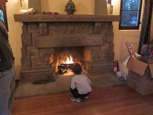 Finn examines the fire