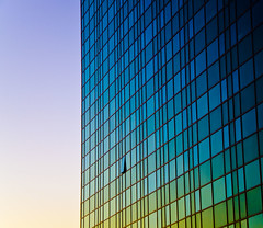 Gradation (ChongoIsDanegerous) Tags: blue light sunset sky sun sunlight building green glass architecture photography photo rainbow image picture pic reflect photograph dane tall hillard danehillard nikond7000
