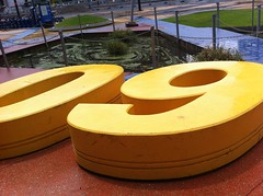 Large yellow sculpture 09 - outside NAB, docklands in Melbourne