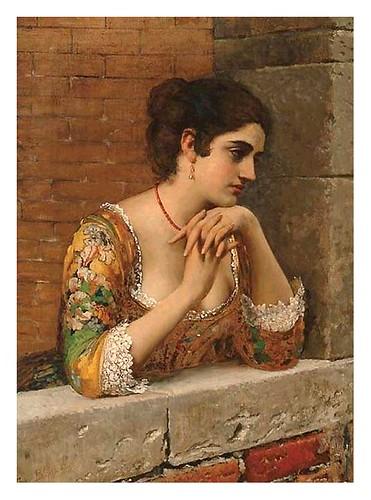 018-Joven veneciana en un balcon-Eugene de Blaas 1932
