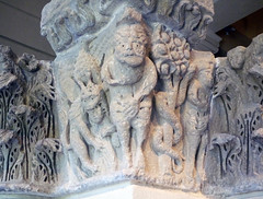 Camarasa Historiated Capitals with detail of demon, Adam, and Eve
