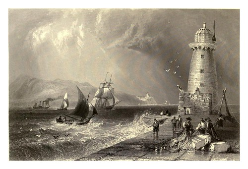 025-Faro del muelle sur-Dublin-The scenery and antiquities of Ireland -Vol II-1842-W. H. Bartlett