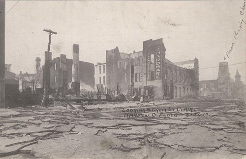 Looking North From St. Clair, Dayton, OH - 1913 Flood