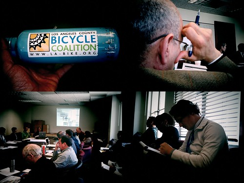 BPIT Lumovision - LACBC bottle, LADOT Bikeways engineer head, crowded room, Bike Blog Chris