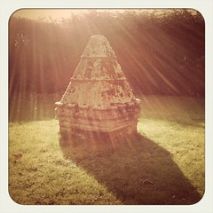Glorious sunbeams (sarah.j.williams) Tags: uk shadow sunlight grass stone lomography application diana hedge rays app sunbeams gatepost iphone lomolomo iphone4
