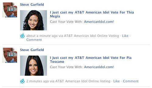 American Idol Online Voting: Shared on Facebook