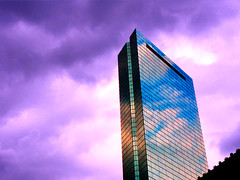Sky Writing (brooksbos) Tags: city sky urban colour reflection tower architecture clouds skyscraper geotagged ma photography photo mr sony newengland cybershot hancock bostonma sonycybershot bostonist masschusetts lurvely 02116 everyblock thatsboston dschx5v hx5v brooksbos