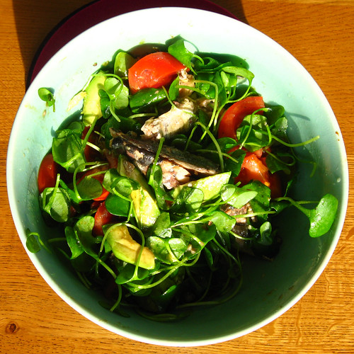 Sardine, avocado and tomato salad