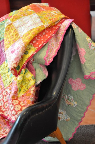 quilts on chair