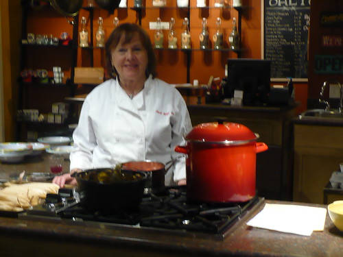 Lynne greeting her students at the Kitchen Engine
