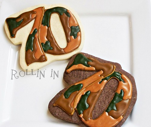 70th Birthday Camo Cookie Favors