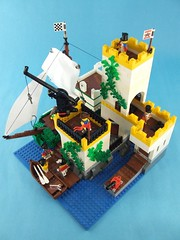 Unexpected Arrivals (Shadow Viking) Tags: port docks pier ship lego fort crane pirates towers armada storage captain cannon arr imperial soldiers rowboat longboat marines barracks anyway commander okay ahoy dinghy avast yarr foitsop forbiddencove jrc2 unexpectedarrivals