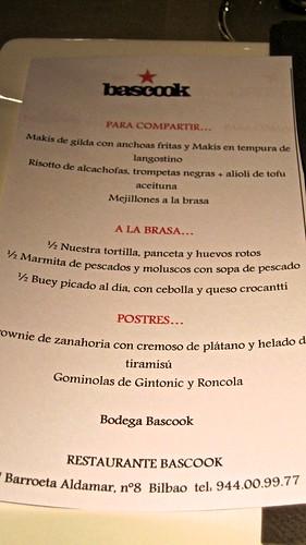 El menú del encuentro Bascook para el Foro Diletantes Bilbao