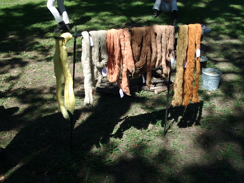 My naturally dyed wool on display.