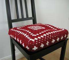 Ritva Crochet Cover (Hand Knitted Things) Tags: red white ikea chair squares handmade crochet pillow cotton cover grannysquare ritva cuchion handknittedthings