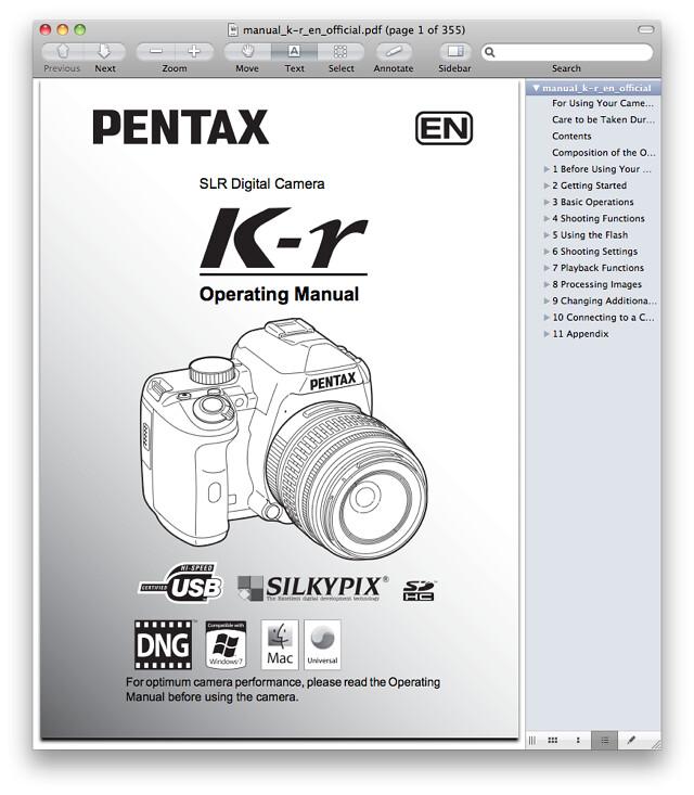 Pentax K-r Manual