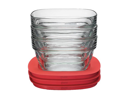 Glass food storage container with Easy Find Lids