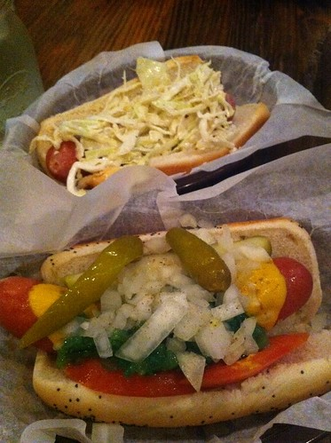 Slaw dog and Chicago Dog at Franks #wwjce