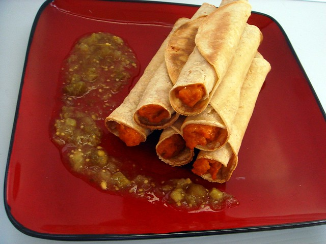 baked sweet potato taquitos