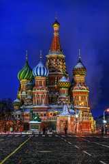 Moscow - St Basil's Cathedral at Night (AJ Brustein) Tags: blue red building church saint night canon square aj evening site twilight downtown cathedral russia moscow unesco hour basil redsquare orthodox hdr worldheritage  stbasilscathedral brustein 50d