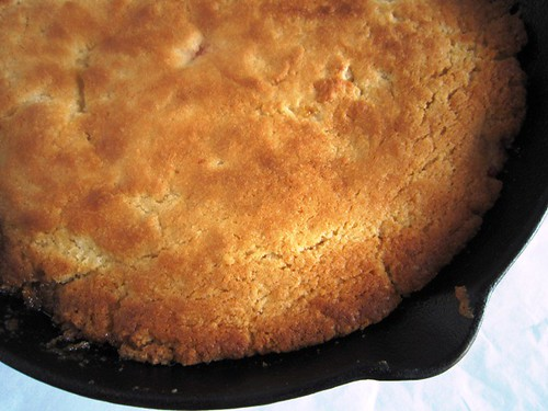 Skillet cake before the flip, take one