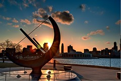 Adler Statue Sunset (Christopher.F Photography) Tags: sunset sun chicago statue nikon adler sundial sunflare adlerplanetarium d3000
