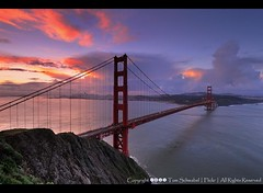 Good Morning San Francisco (pdxsafariguy) Tags: sanfrancisco california bridge water clouds sunrise bay cityscape suspension marin goldengate tomschwabel