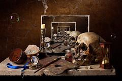 Still Life - Infinite Vanitas (kevsyd) Tags: skull bubbles easel hourglass vanitas kevinbest dutchstilllife