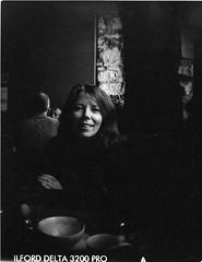 100 Strangers Project #19 Julie (BunnySafari) Tags: bw film julie guelph coffeehouse ilforddelta3200 lovelysmile thecornerstone 100strangersproject19 developedinhc110
