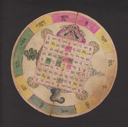 //Mandala// Mongolia, 20th century. Tibetan script on paper, diameter 130 mm.