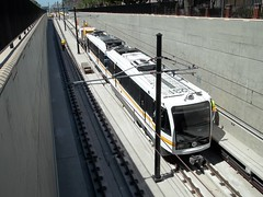 Expo Line Rail Car Clearance Testing: Exiting the Trench (jwalker64) Tags: county light test car train project los construction expo metro angeles authority rail line exposition transportation transit vehicle mta clearance lrt metropolitan hirail lacmta lrv