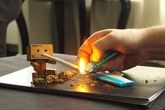Danbo gets a light (Jody Walmsley) Tags: weed marijuana danbo amstredam revoltech danboard