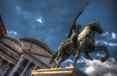 Charge! (TheFella) Tags: sky italy horse church statue clouds canon square photography eos photo europe cross unescoworldheritagesite unesco photograph napoli naples piazza rider charge charging 500d piazzadelplebiscito