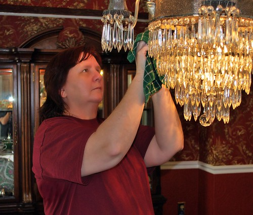 Me Cleaning the Chandelier