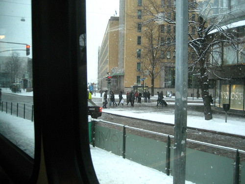out of the tram window