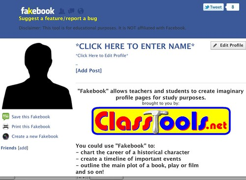 Screenshot of FakeBook