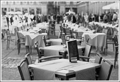 Mesas II - Plaza Mayor (Rumbo181) Tags: madrid blackandwhite bw espaa byn blancoynegro europa europe bn tables plazamayor mesas urbanlandscapes paisajesurbanos madird newtopography nuevatopografia
