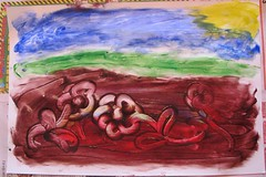 Ready to Break Through - Finger Paint Depiction of My Project Quilting Week 6 Concept