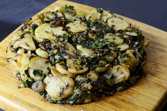 potato, greens, and mushroom cake