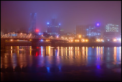 Portland Foggy Nights (Darren White Photography) Tags: nightphotography west fog oregon canon river portland moody northwest north bridges pacificnorthwest portlandia portlandoregon bridgetown willametteriver stumptown 1740l rosecity cityofroses kointower darrenwhite darrenwhitephotography 5dmkii oregonstockphotography portlandoregonatnight