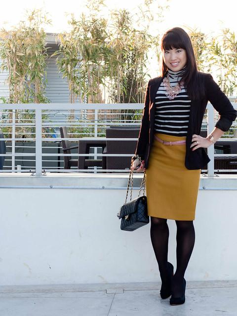 urban outfitters boyfriend blazer gap striped shirt j. crew double serge pencil skirt bronzed ochre agaci pink skinny belt chanel m/l classic flap